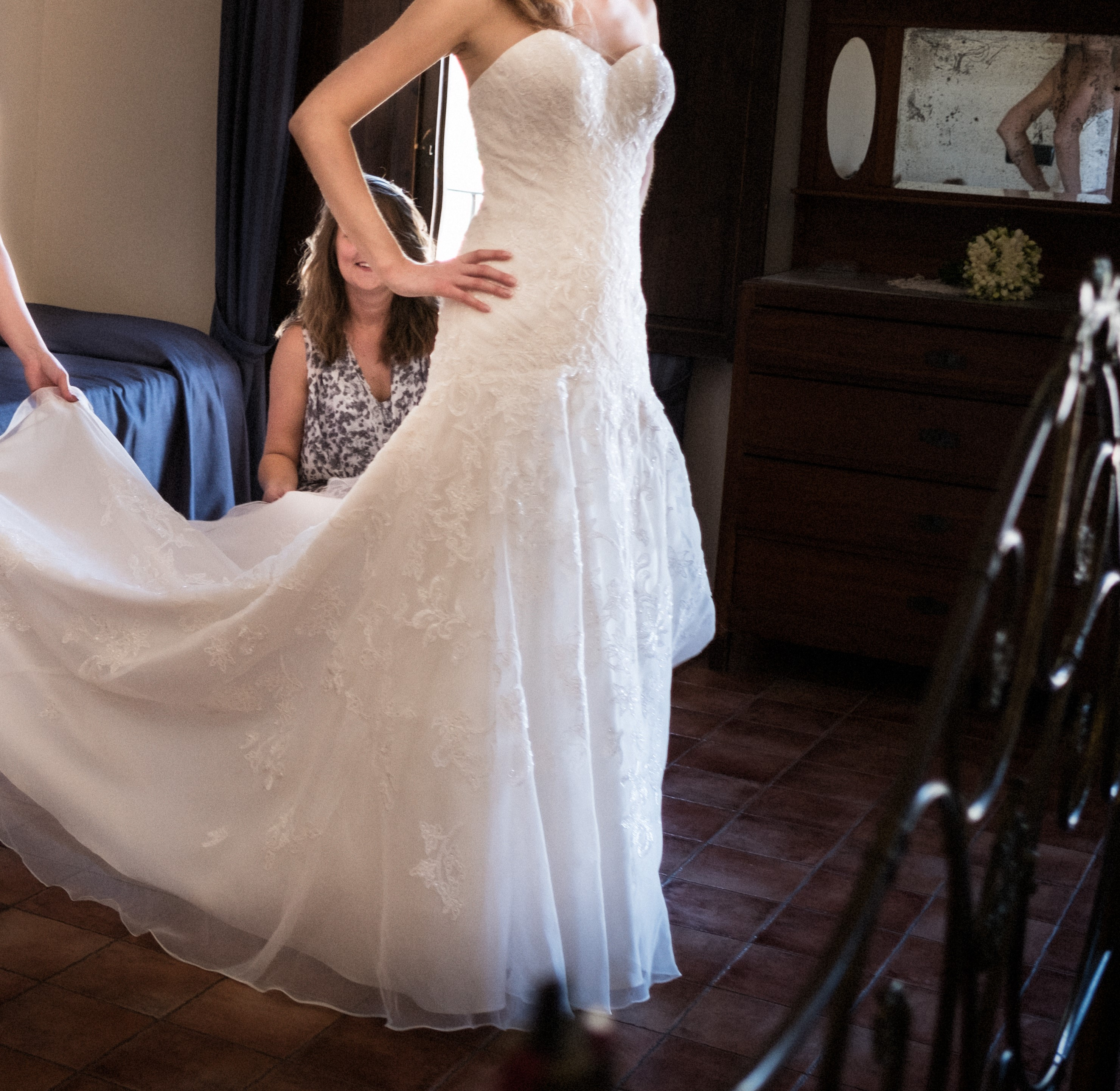 Beaded lace mermaid wedding dress size 8